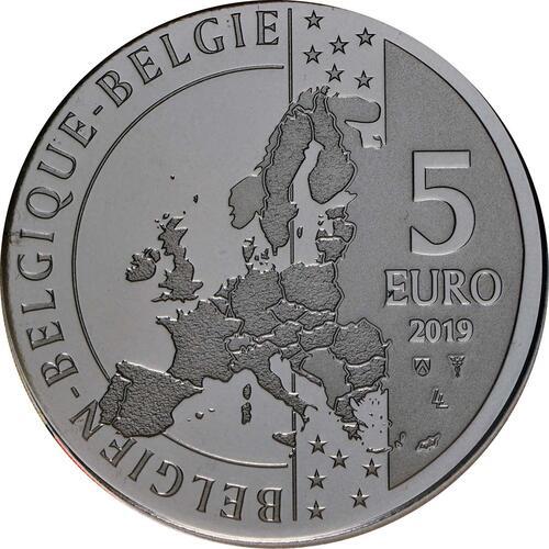 Rückseite:Belgien : 5 Euro 90 Jahre Tintin - Tim und Struppi - farbig  2019 Stgl.