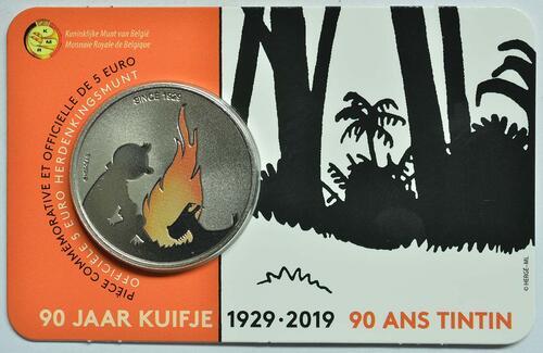 Lieferumfang:Belgien : 5 Euro 90 Jahre Tintin - Tim und Struppi - farbig  2019 Stgl.