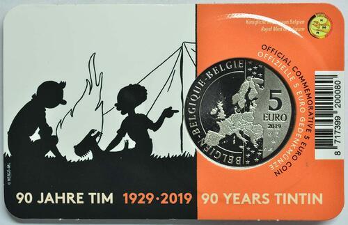 Zertifikat:Belgien : 5 Euro 90 Jahre Tintin - Tim und Struppi - farbig  2019 Stgl.