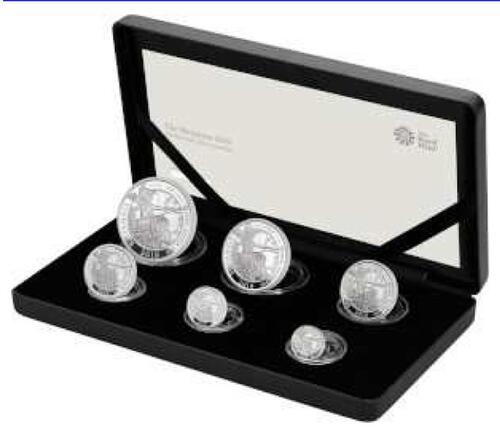 Lieferumfang:Großbritannien : 3,85 Pfund Britannia Silver 6-Coin Set  2019 PP