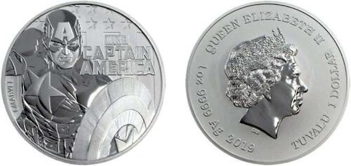 Lieferumfang:Tuvalu : 1 Dollar Captain America - Bullion 1 oz  2019 Stgl.
