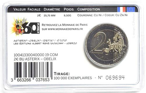 Zertifikat:Frankreich : 2 Euro Asterix und Obelix  2019 Stgl.