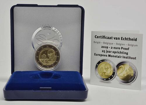 Lieferumfang:Belgien : 2 Euro 25-jähriges Bestehen des Europäischen Währungsinstituts (EWI)  2019 PP