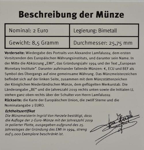 Zertifikat:Belgien : 2 Euro 25-jähriges Bestehen des Europäischen Währungsinstituts (EWI)  2019 PP