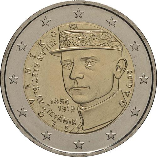 Rückseite:Slowakei : 2 Euro 100 Todestag von Milan Rastislav Stefanik  2019 bfr
