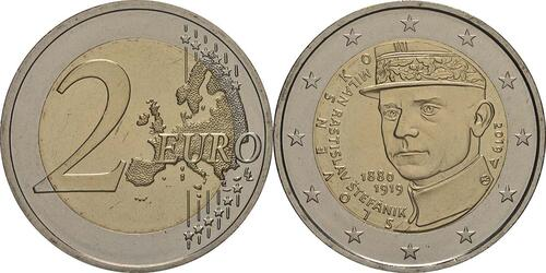 Lieferumfang:Slowakei : 2 Euro 100 Todestag von Milan Rastislav Stefanik  2019 bfr