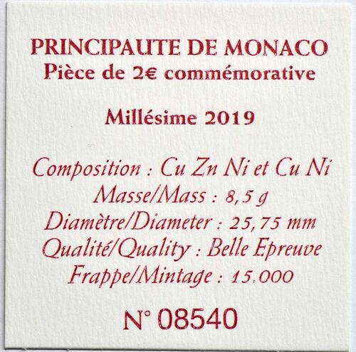 Zertifikat:Monaco : 2 Euro 200. Jahrestag der Thronbesteigung von Fürst Honoré V.  2019 PP