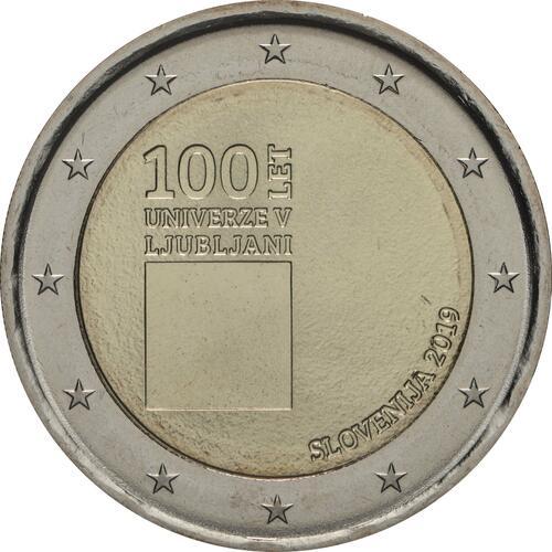 Rückseite:Slowenien : 2 Euro 100. Jahrestag der Gründung der Universität Ljubljana  2019 bfr