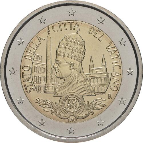 Rückseite:Vatikan : 2 Euro 90. Jahrestag der Gründung des Staates Vatikanstadt  2019 bfr