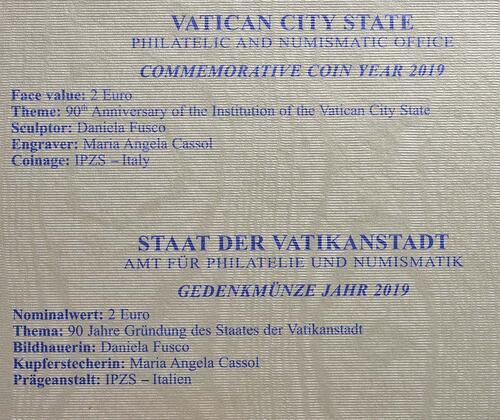 Zertifikat:Vatikan : 2 Euro 90. Jahrestag der Gründung des Staates Vatikanstadt  2019 bfr