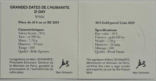 Zertifikat:Frankreich : 50 Euro Land, See, und Luftoperationen  2019 PP