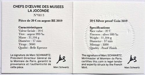 Zertifikat:Frankreich : 20 Euro Mona Lisa  2019 PP