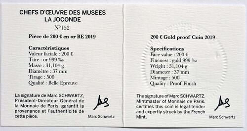 Zertifikat:Frankreich : 200 Euro Mona Lisa  2019 PP