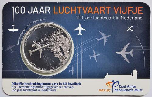 Lieferumfang:Niederlande : 5 Euro 100 Jahre Luftfahrt  2019 Stgl.