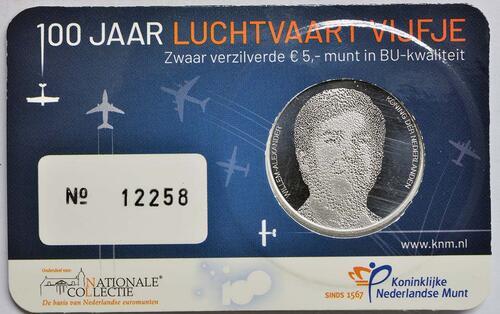 Zertifikat:Niederlande : 5 Euro 100 Jahre Luftfahrt  2019 Stgl.