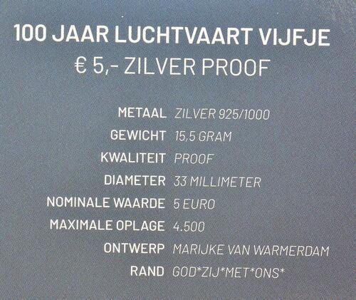 Zertifikat:Niederlande : 5 Euro 100 Jahre Luftfahrt  2019 PP