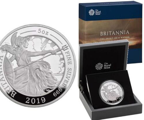 Lieferumfang:Großbritannien : 10 Pfund Britannia 5 oz  2019 PP
