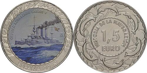 Lieferumfang:Spanien : 1,5 Euro Kreuzer Carlos V. #7  2019 bfr
