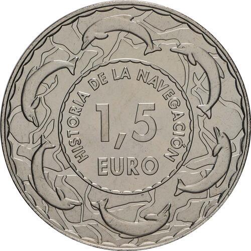 Rückseite:Spanien : 1,5 Euro Flottentanker Patino  2019 bfr