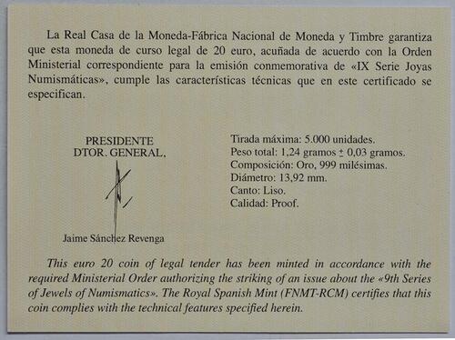 Zertifikat:Spanien : 20 Euro Haus Habsburg  2019 PP