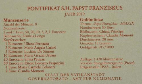 Zertifikat:Vatikan : 53,88 Euro KMS Vatikan mit 50 Euro Gedenkmünze  2019 PP
