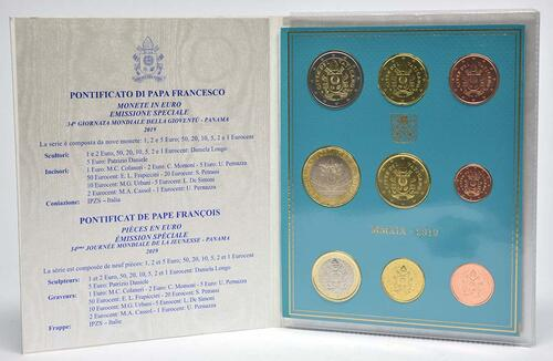 Lieferumfang:Vatikan : 8,88 Euro KMS Vatikan mit 5 Euro XXXIV. Weltjugendtag Panama  2019 Stgl.