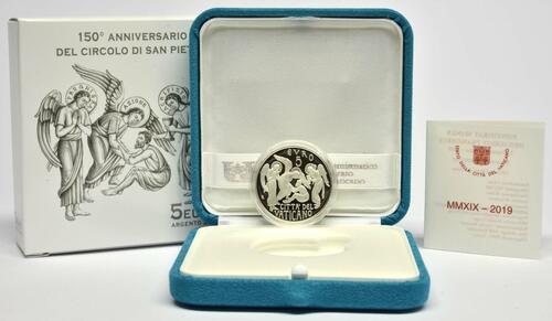 Lieferumfang:Vatikan : 5 Euro 150 Jahre Circolo San Pietro  2019 PP