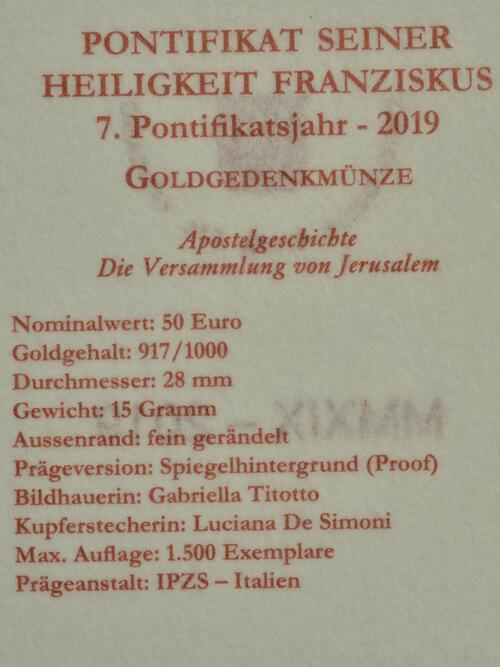 Zertifikat:Vatikan : 50 Euro Apostelgeschichte: die Versammlung von Jerusalem  2019 PP