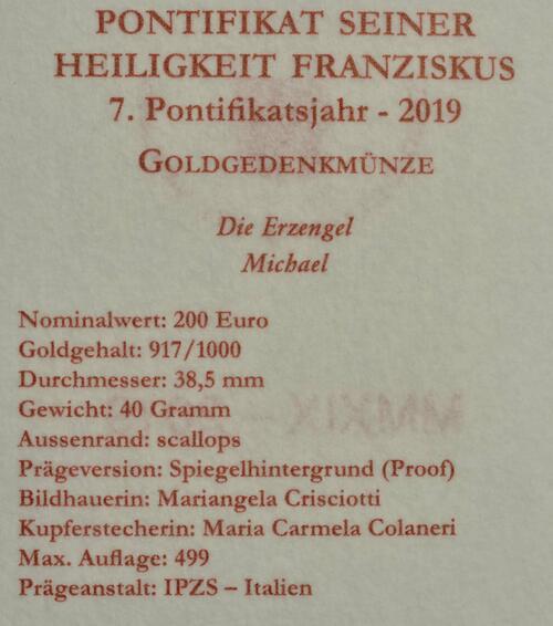 Zertifikat:Vatikan : 200 Euro Die Erzengel: Michael  2019 PP