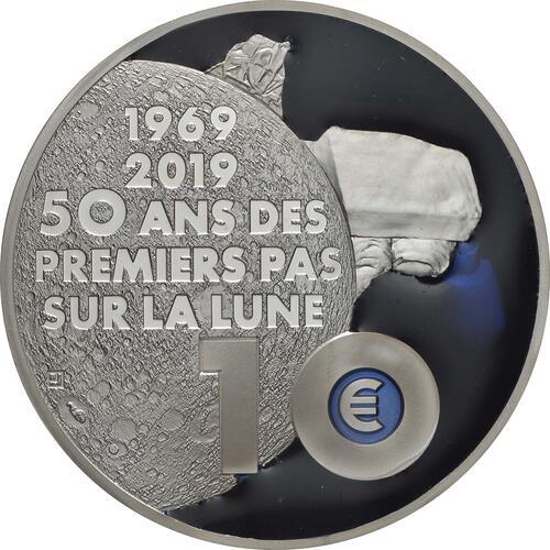 Rückseite:Frankreich : 10 Euro Mondlandung mit Resin Einlage  2019 PP