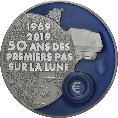 Rückseite:Frankreich : 50 Euro Mondlandung mit Resin Einlage  2019 PP