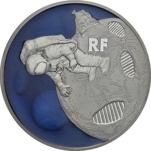 Vorderseite:Frankreich : 50 Euro Mondlandung mit Resin Einlage  2019 PP