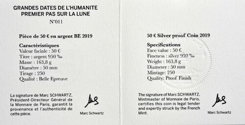 Zertifikat:Frankreich : 50 Euro Mondlandung mit Resin Einlage  2019 PP