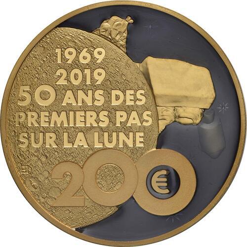Rückseite:Frankreich : 200 Euro Mondlandung mit Resin Einlage  2019 PP