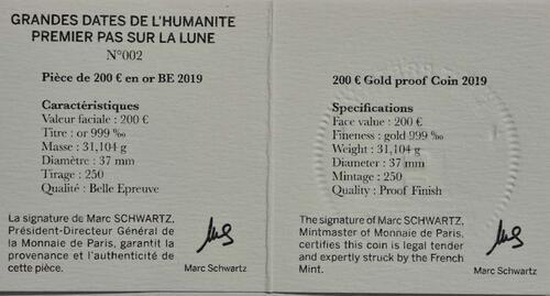 Zertifikat:Frankreich : 200 Euro Mondlandung mit Resin Einlage  2019 PP