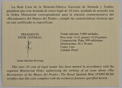 Zertifikat:Spanien : 10 Euro Velazquez - farbig  2019 PP