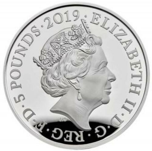 Rückseite:Großbritannien : 5 Pfund Tower v. London - Die Kronjuwelen  Piedfort  2019 PP