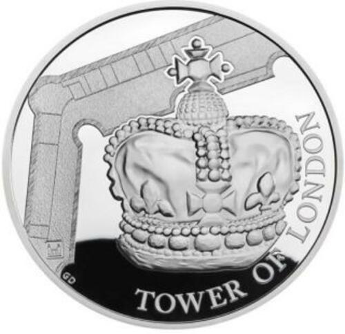 Vorderseite:Großbritannien : 5 Pfund Tower v. London - Die Kronjuwelen  Piedfort  2019 PP