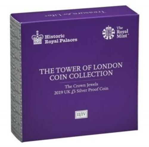 Zertifikat:Großbritannien : 5 Pfund Tower v. London - Die Kronjuwelen  Piedfort  2019 PP