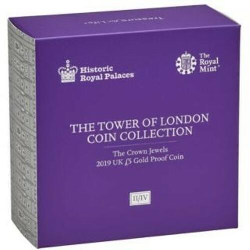 Vorderseite:Großbritannien : 5 Pfund Tower v. London - Die Kronjuwelen  1 oz  2019 PP