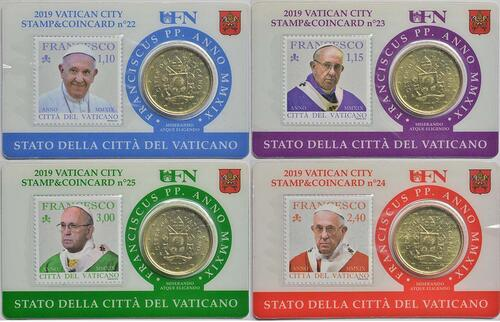 Lieferumfang:Vatikan : 50 Cent 4x 50 Cent + Briefmarken 1,10 1,15 2,40 3,0 Euro  2019 bfr
