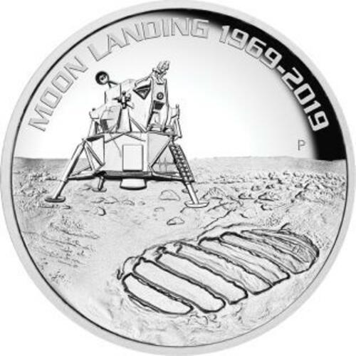 Vorderseite:Australien : 8 Dollar 50 Jahre Mondlandung   5 oz  2019 PP