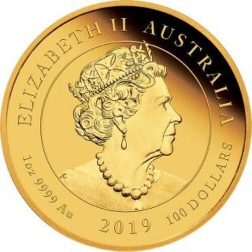 Rückseite:Australien : 100 Dollar 50 Jahre Mondlandung   1 oz  2019 PP