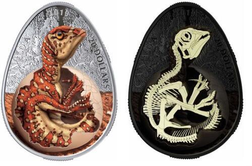 Lieferumfang:Kanada : 20 Dollar Schlüpfender Hadrosaurier - eiförmig  2019 PP
