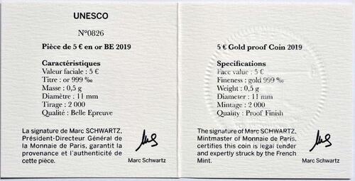 Zertifikat:Frankreich : 5 Euro Der Turm von Belem / Vasco da Gama  2019 PP