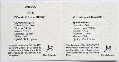 Zertifikat:Frankreich : 50 Euro Der Turm von Belem / Vasco da Gama  2019 PP