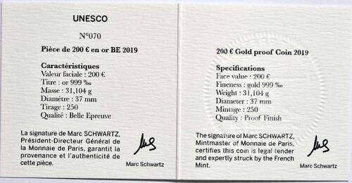 Zertifikat:Frankreich : 200 Euro Der Turm von Belem / Vasco da Gama  2019 PP