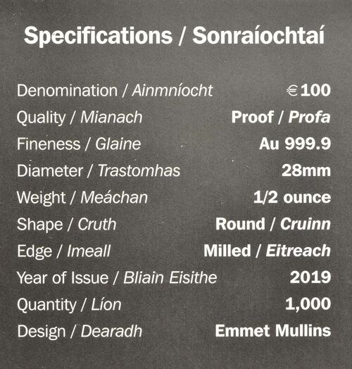 Zertifikat:Irland : 100 Euro 100. Jahrestag Dail Eireann  2019 PP