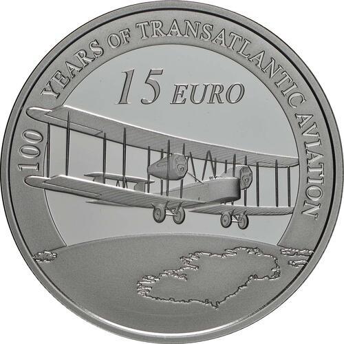 Vorderseite:Irland : 15 Euro 100 Jahre Transatlantikflug  2019 PP