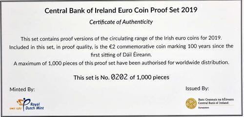 Zertifikat:Irland : 5,88 Euro KMS Irland inkl. 2 Euro Gedenkmünze Dail Eireann  2019 PP